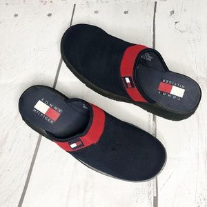 TOMMY HILFIGER Red and Blue Clogs
